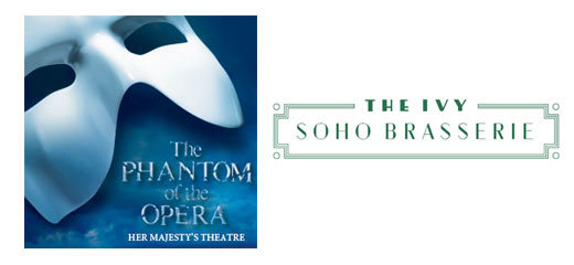 Phantom Of The Opera + 3 Course Pre-Theatre Dinner at The Ivy Soho Brasserie