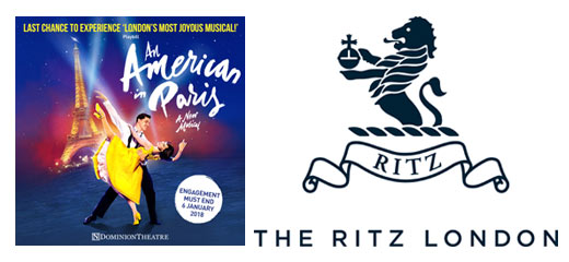 An American In Paris + 3 Course Dinner & Glass of Champagne at The Ritz