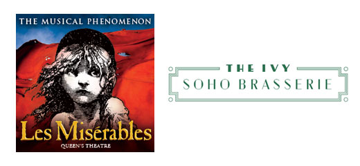 Les Miserables + 3 Course Pre-Theatre Dinner at The Ivy Soho Brasserie